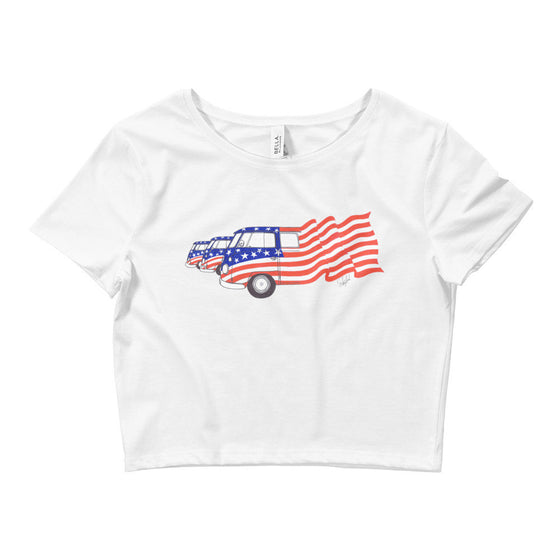 """Ole Glory - Red, White & Blue"" - Women's Crop Top"