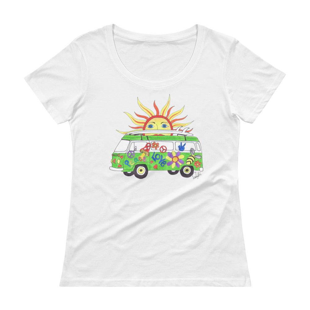 """Hippie Sun"" - Ladies Scoopneck Tee"
