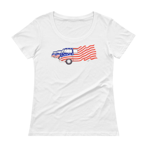 """Commemorative US National Parks & Ole Glory"" - Ladies' Scoopneck T-Shirt"