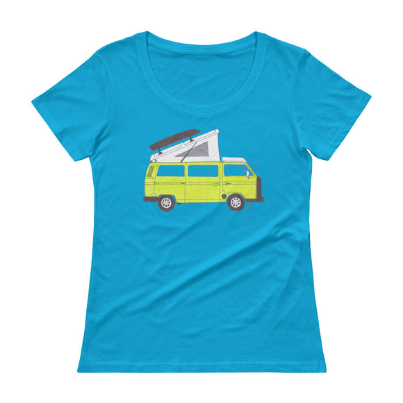 Classic Saima Green VW Vanagon - Ladies' Scoopneck T-Shirt