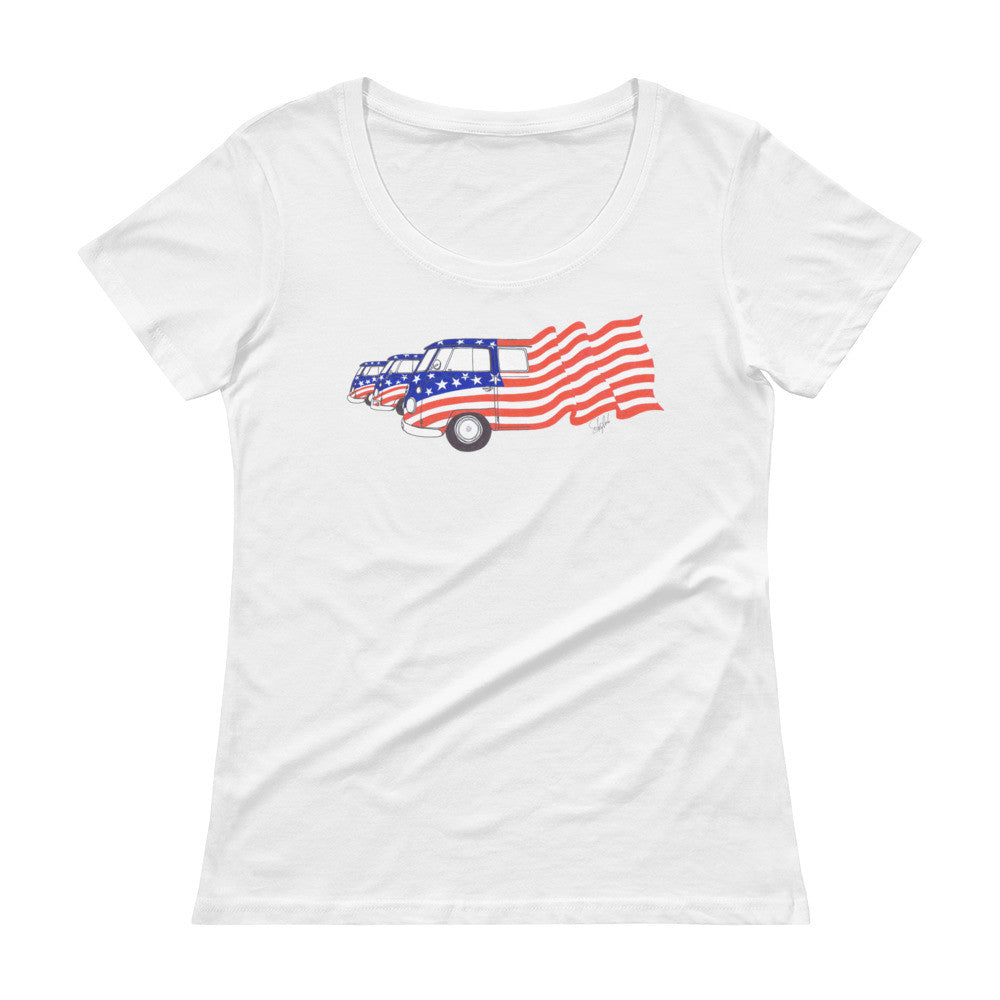 """Ole Glory - Red, White & Blue"" - Ladies' Scoopneck Tee"