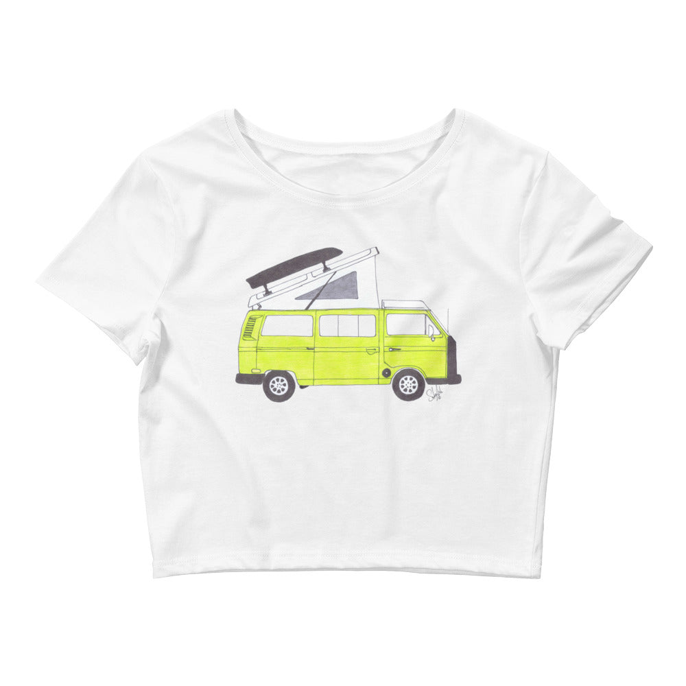 Classic Saima Green VW Vanagon Women's Crop Top Tee