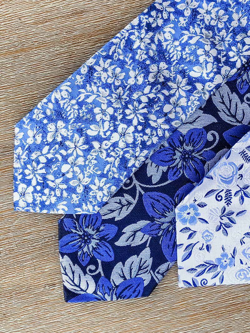 Two Colour Floral Tie Blue