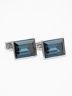 Oblong Crystal Cufflink Blue