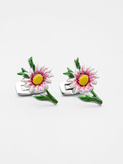 Floral Painted Cufflink Red
