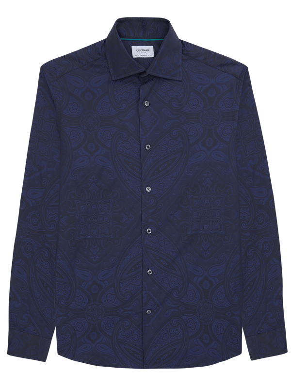 Geometric Paisley Shirt Navy