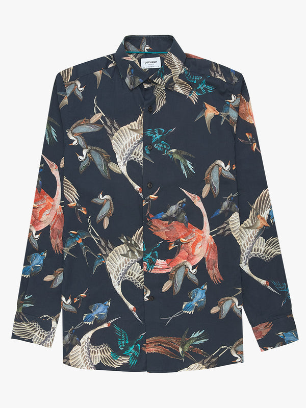 Flocking Birds Print Shirt Black