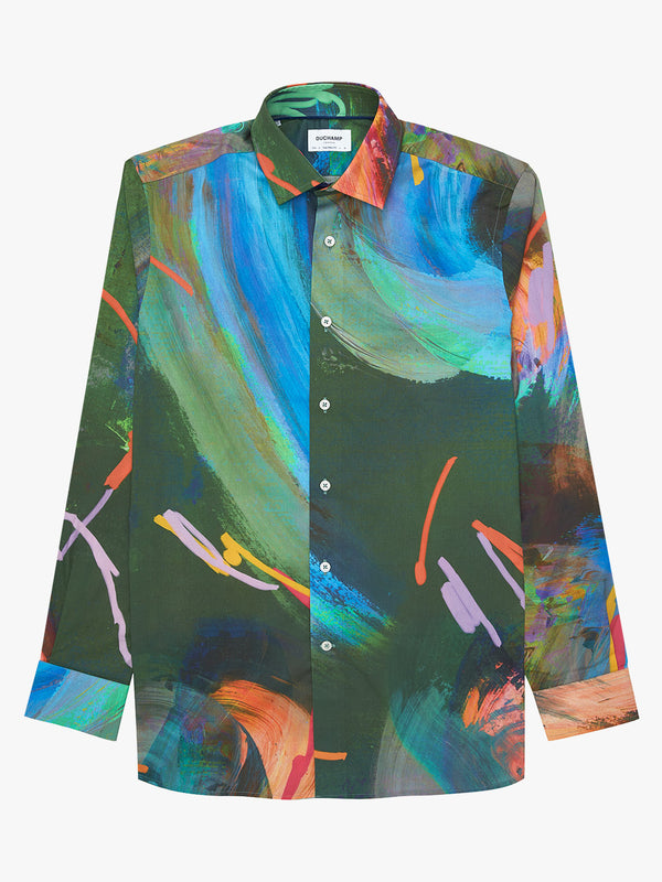 Painted Abstract Print Shirt Blue