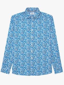 Two Colour Floral Print Shirt Blue