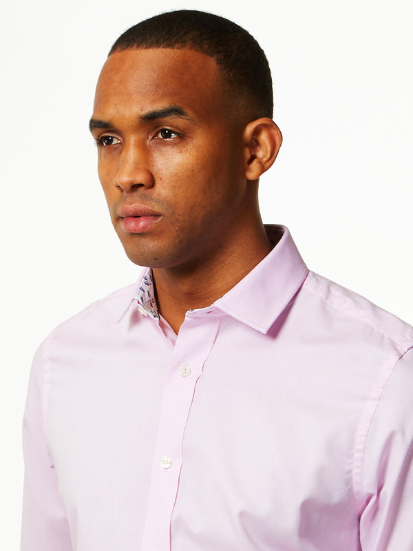 Floral Contrast Oxford Shirt Pink