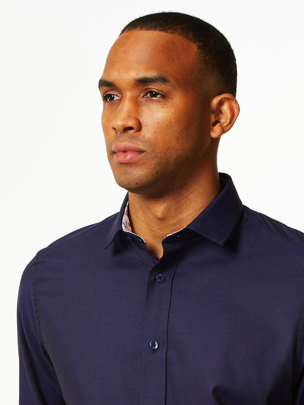 Floral Contrast Oxford Shirt Navy