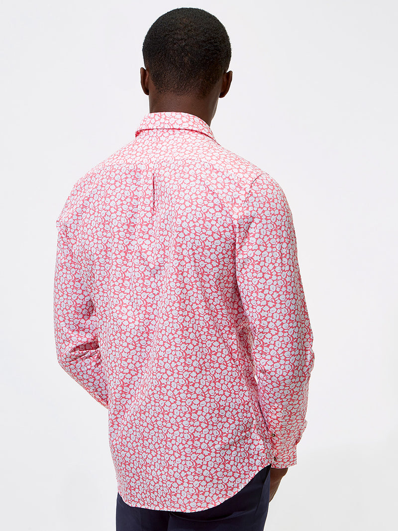 Due Colour Floral Print Shirt Pink