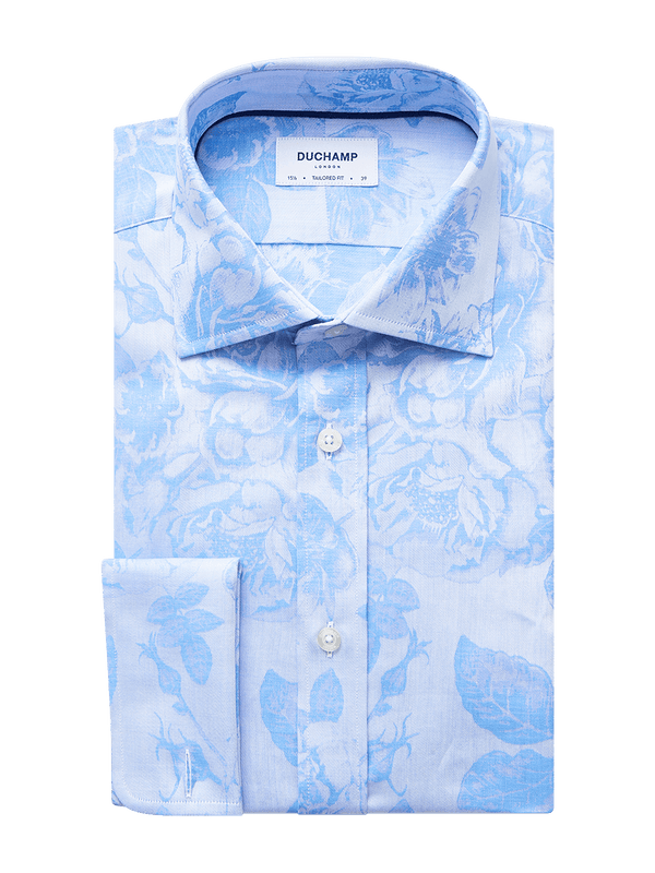 Large Rose Floral Jacquard Shirt Blue