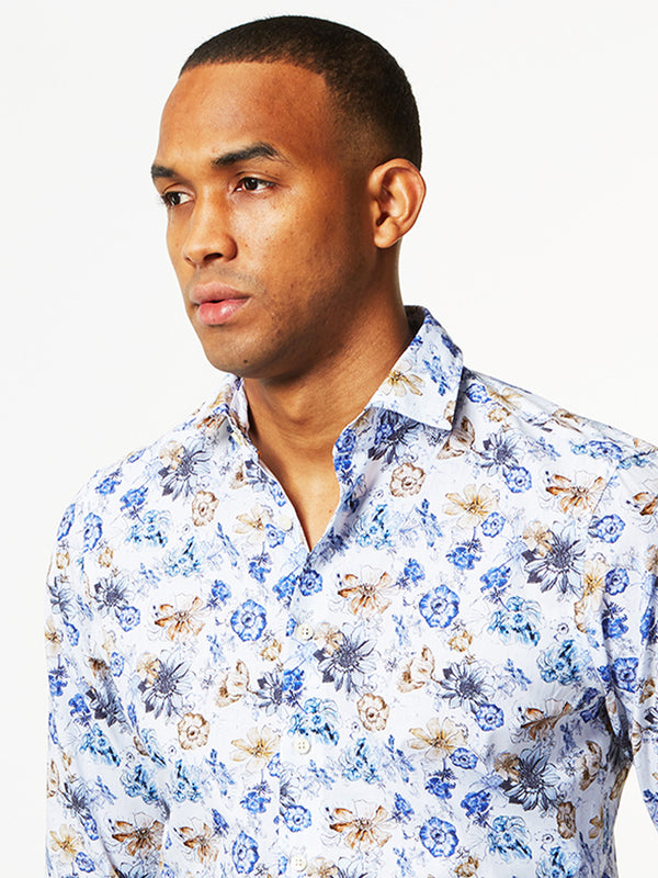 Gracie Floral Print Shirt Blue