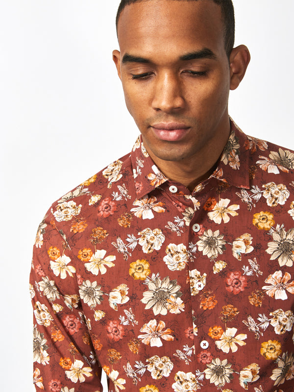 Gracie Floral Print Shirt Red
