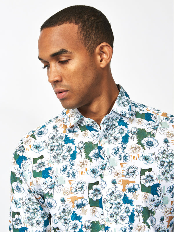 Anemone Floral Print Shirt Turquoise