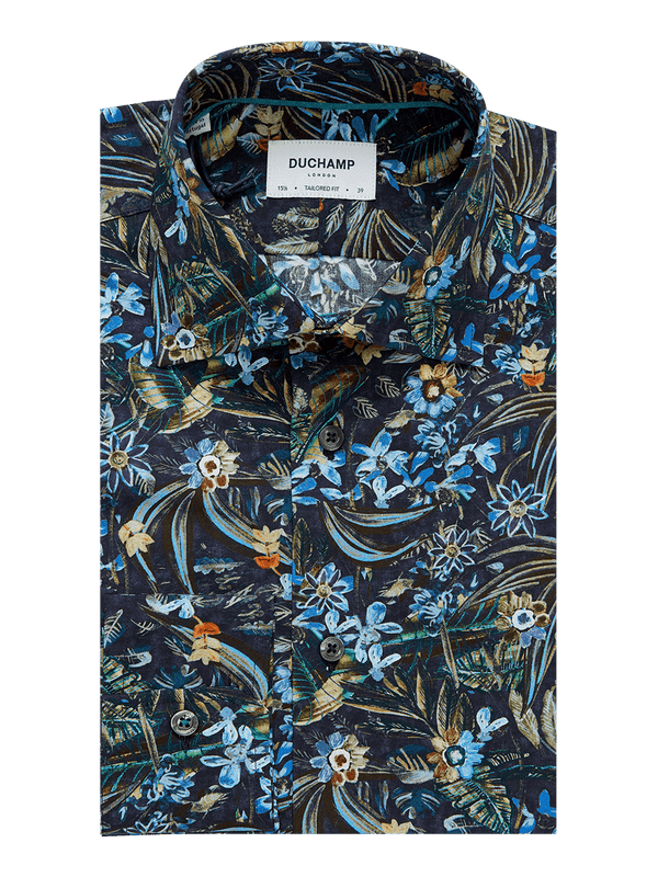 Rainforest Print Shirt Navy