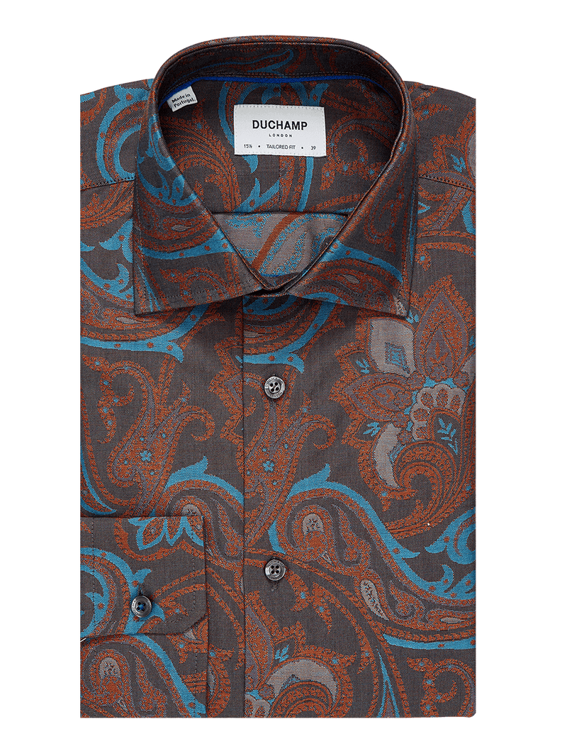 Friday Paisley Jacquard Shirt Orange