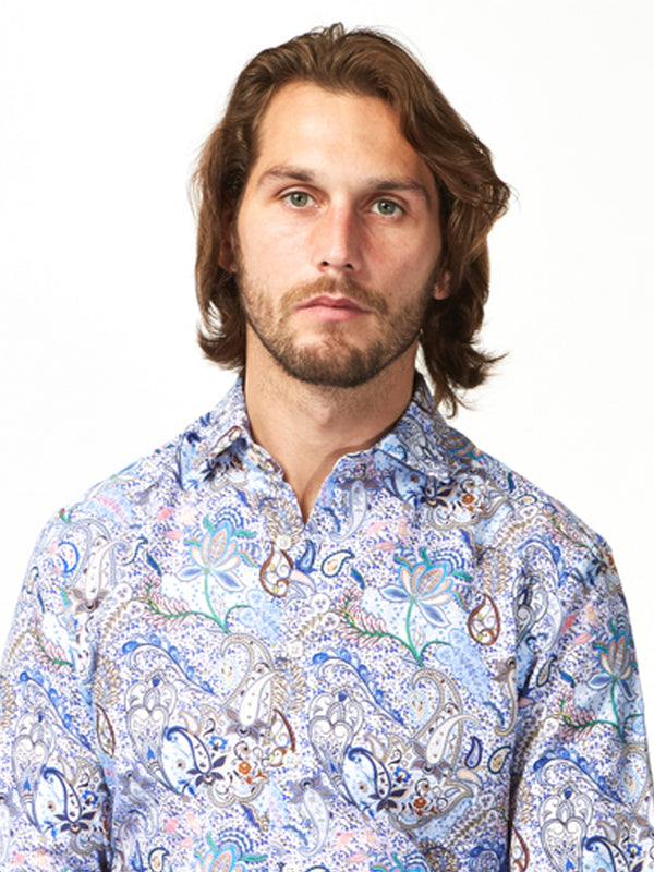 Brilliant Paisley Print Shirt Blue