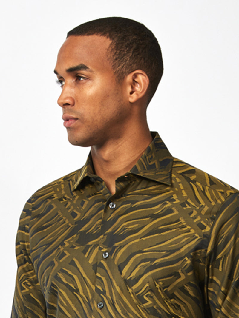 Abstract Lines Degrede Shirt Yellow