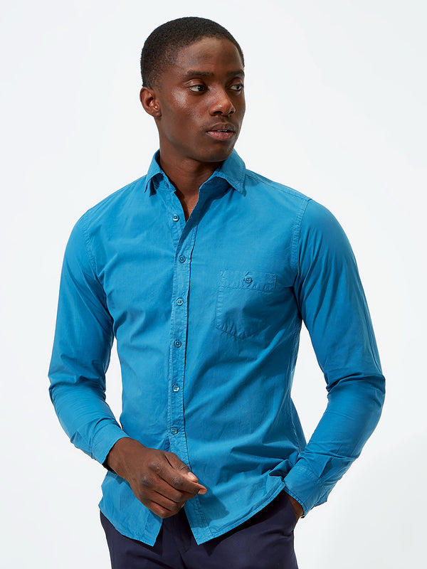 Plain Poplin Shirt Blue
