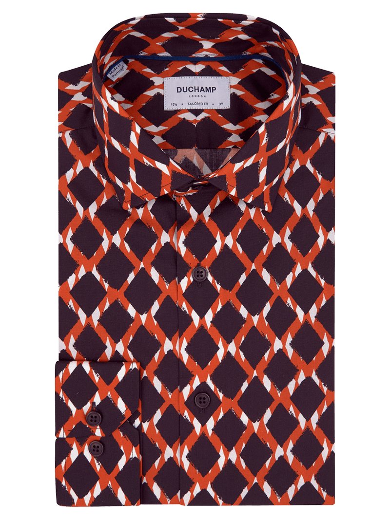 Diamond Print Shirt Orange