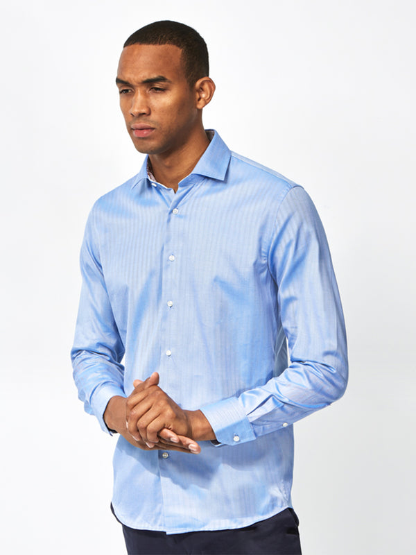 Contrast Floral Trim Shirt Blue