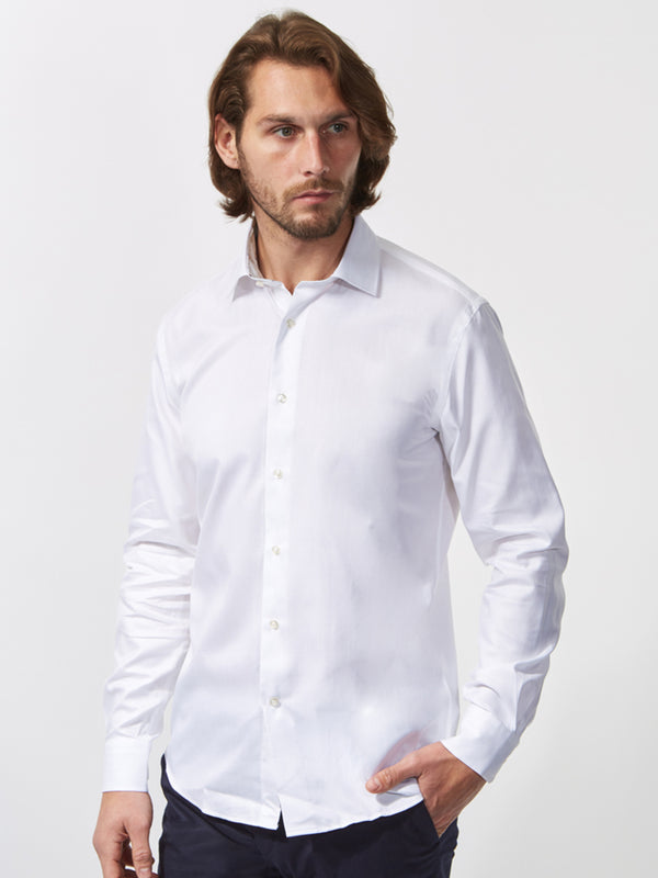 Contrast Floral Trim Shirt White