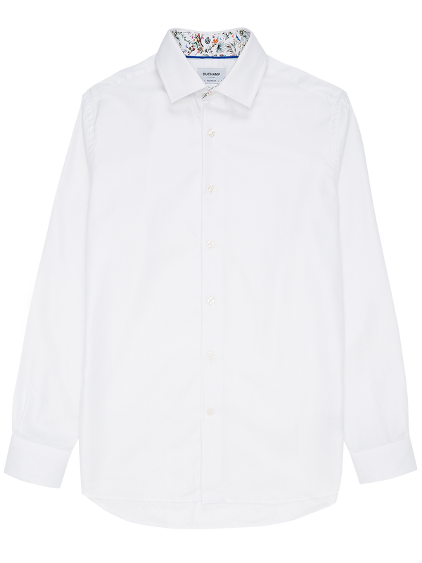 Herringbone Forest Contrast Shirt White