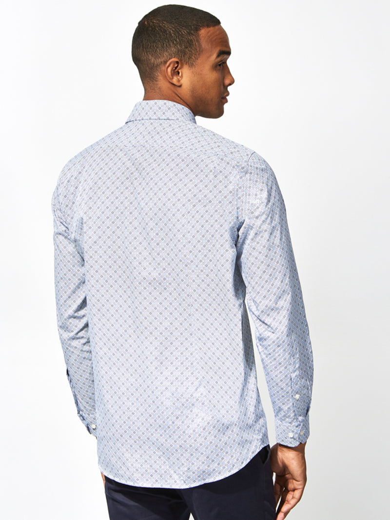 Geometric Print Shirt Blue