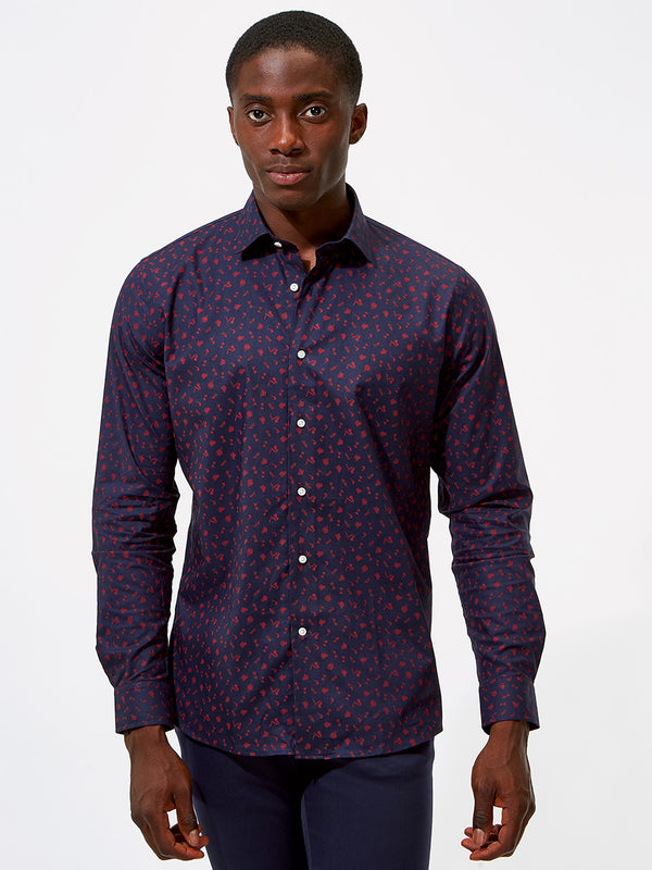 Gentleman's Print Shirt Navy