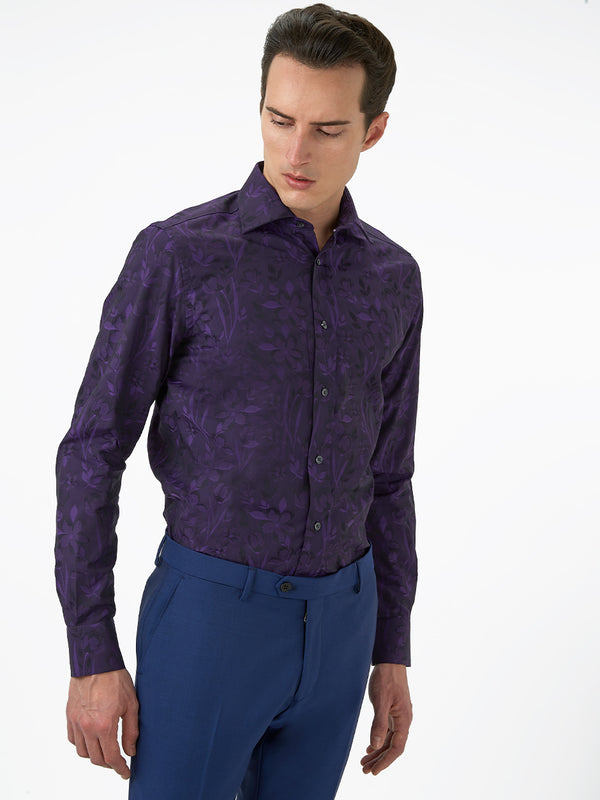 Boris Floral Jacquard Shirt Purple