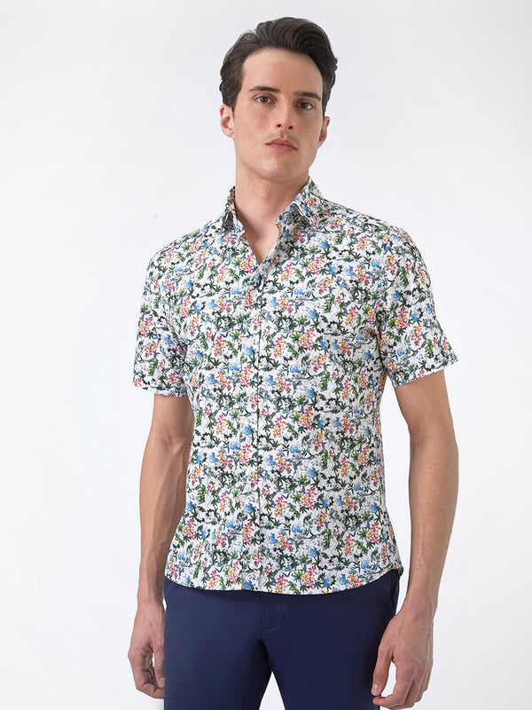 Mens-Floral-Short-Sleeved-Shirt-Pink