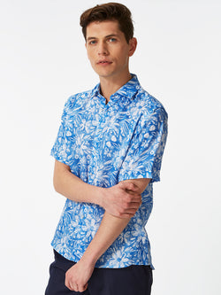 Abstract Flowers Print Shirt Blue