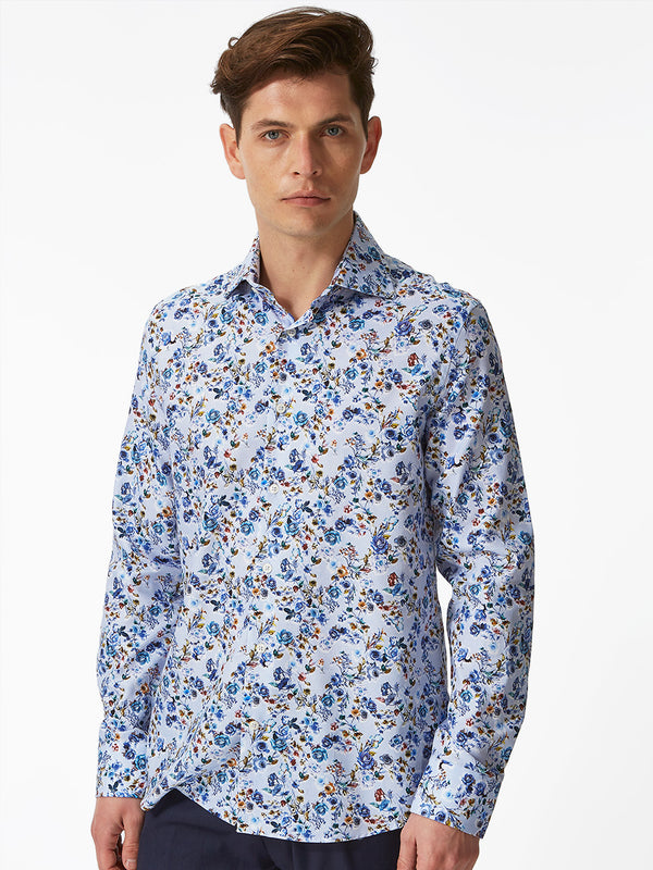 Garden Flowers Print Shirt Blue