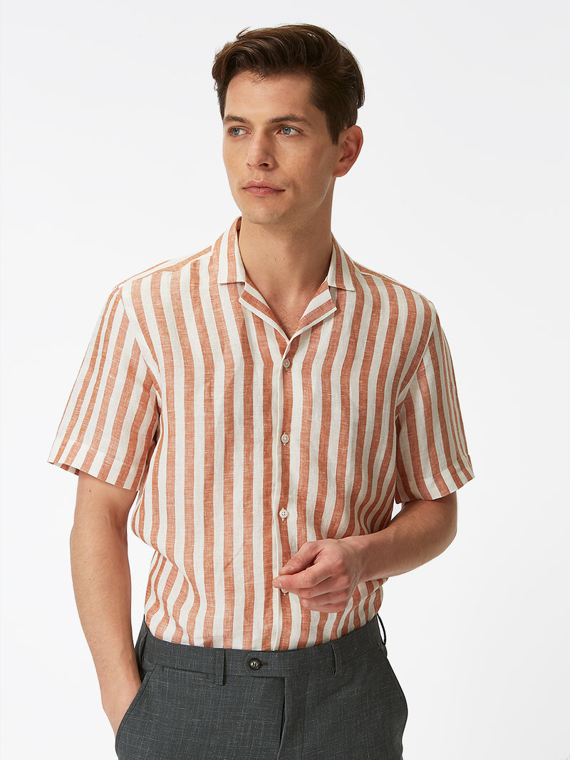 Block Stripe Linen Shirt Orange