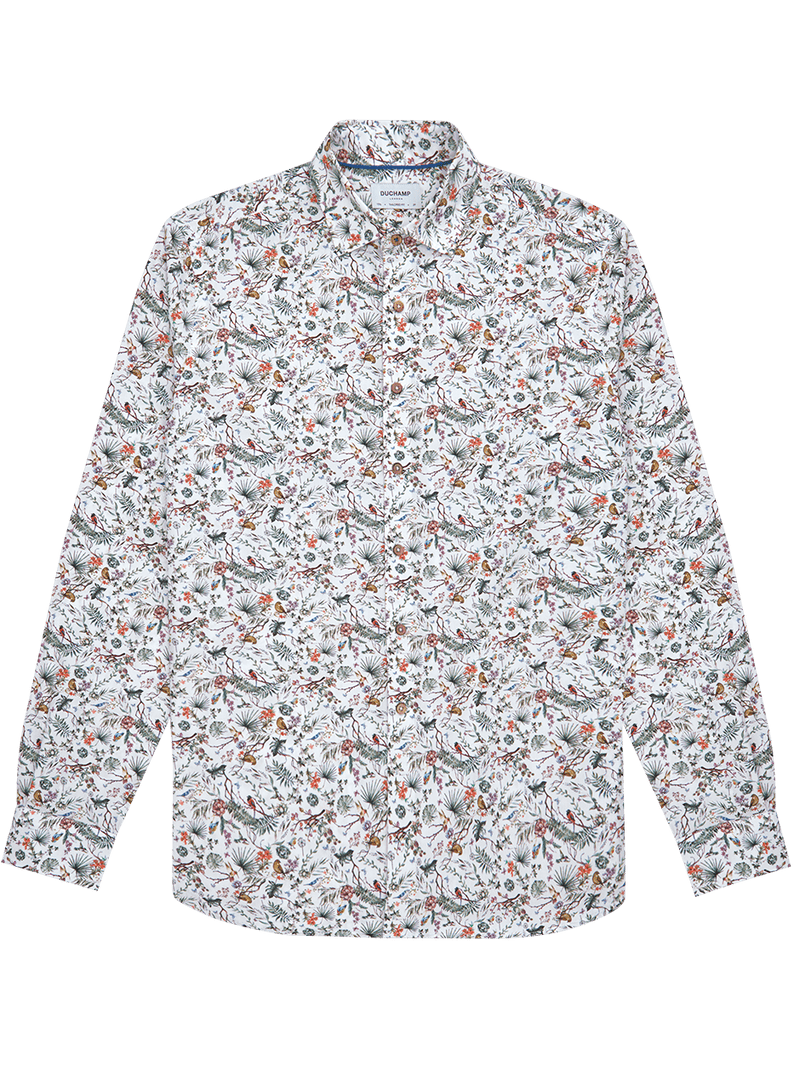 Forest Birds Print Shirt White