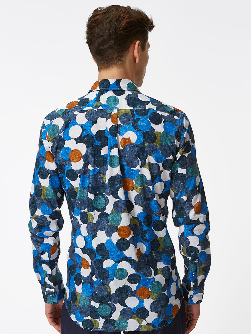 Modernist Dots Print Shirt Blue