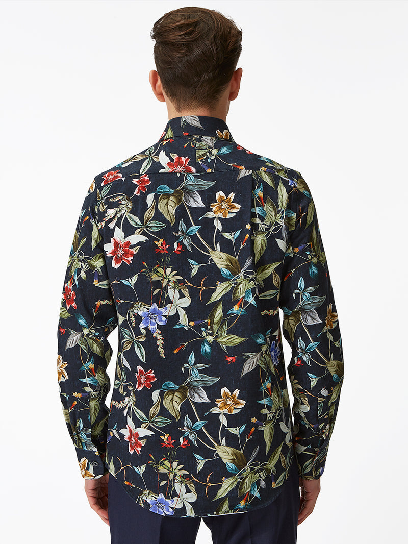 Exotic Floral Print Shirt Navy