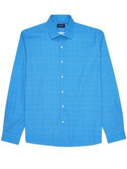 Herringbone Print Shirt Blue