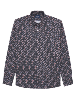 Chess Pieces Print Shirt Navy