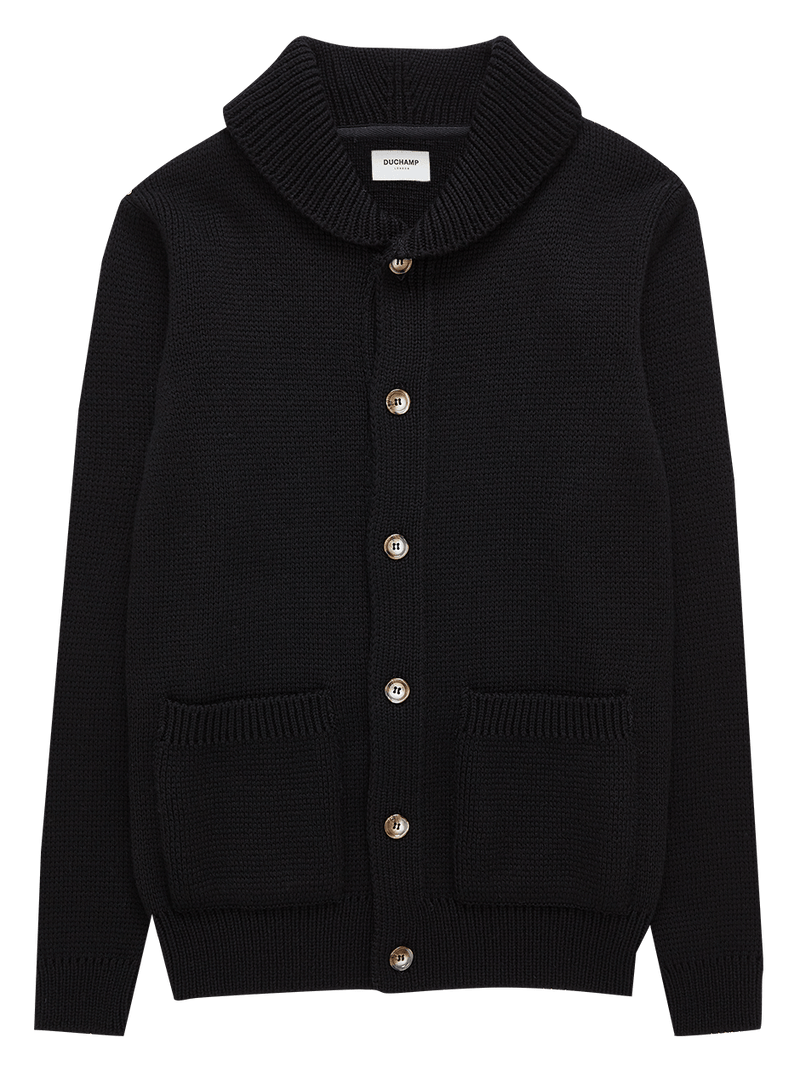 Shawl Collar Merino Wool Cardigan Black