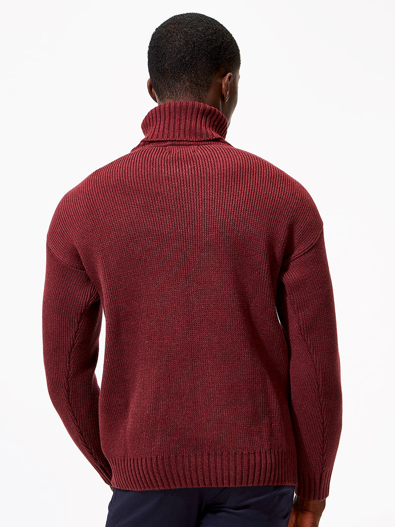 Submariner Roll Neck Jumper Burgundy