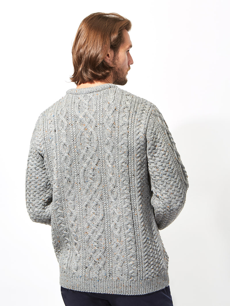 British Wool Fisherman's Jumper Grey
