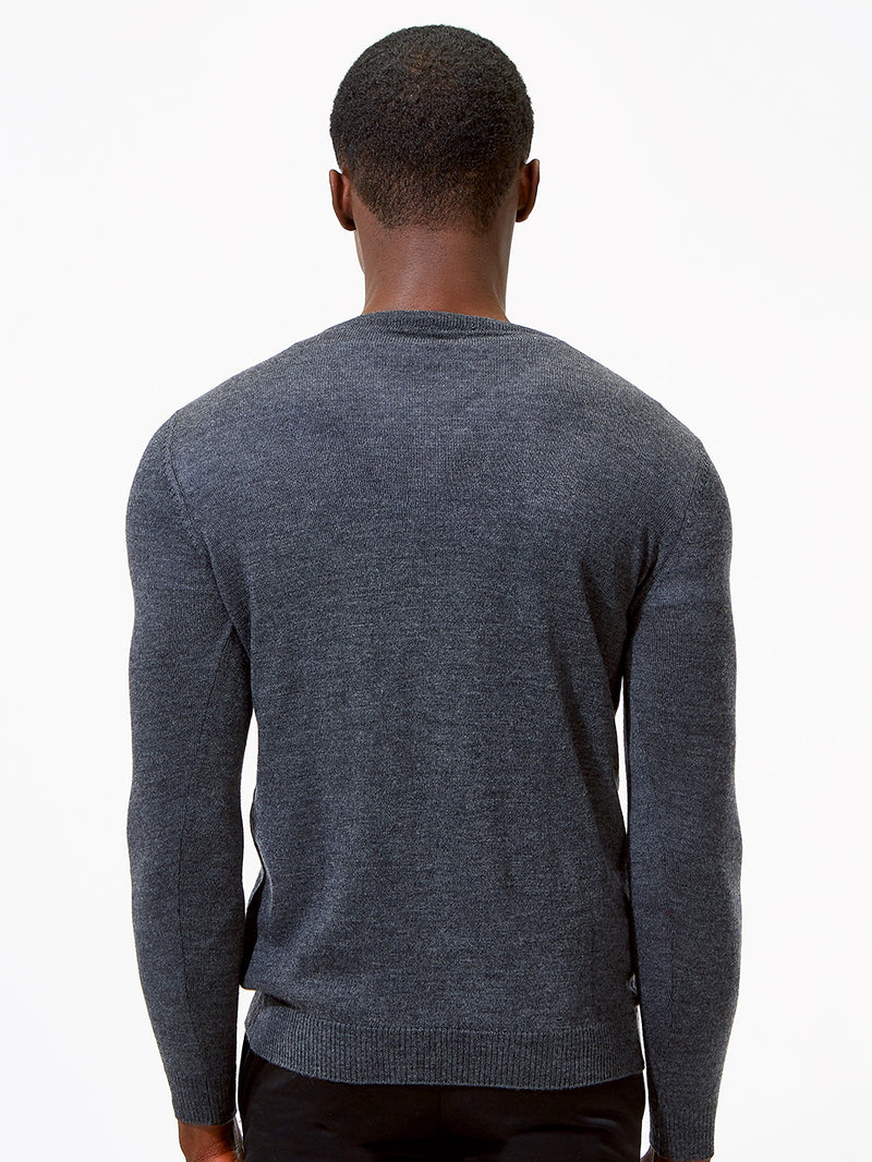Extra Fine Merino Wool V Neck Grey