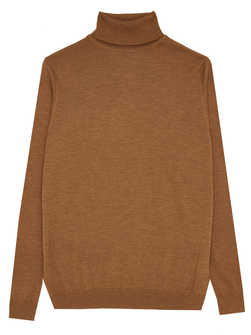 Extra Fine Merino Wool Roll Neck Neutral