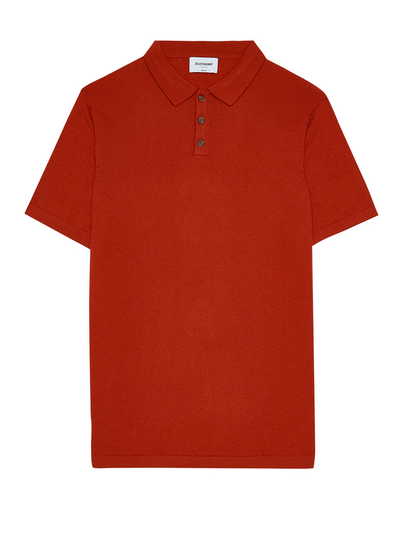 Extra Fine Merino Wool Poloshirt Orange