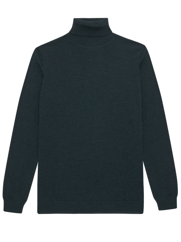Extra Fine Merino Wool Roll Neck Green
