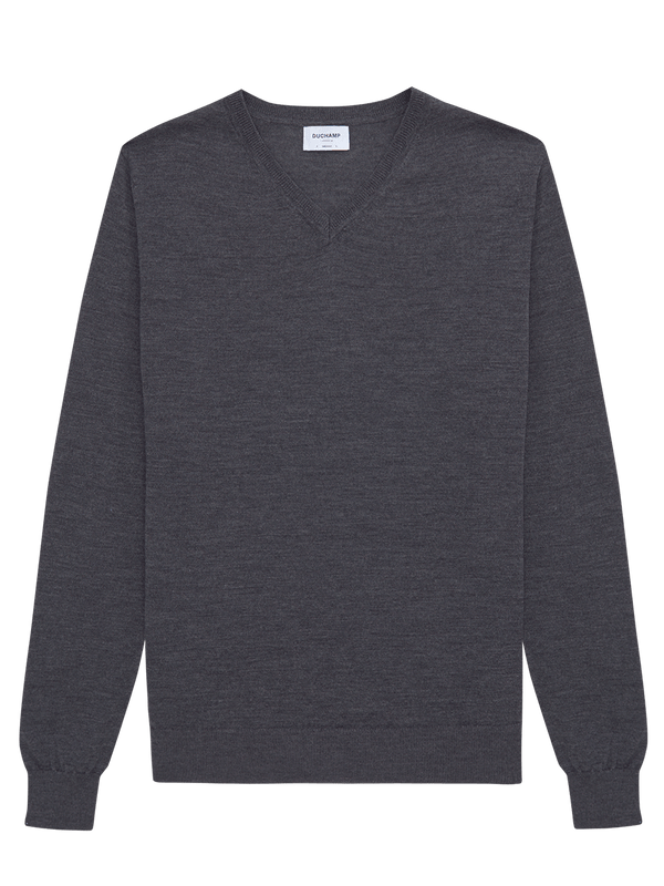 Merino Wool V Neck Jumper Grey