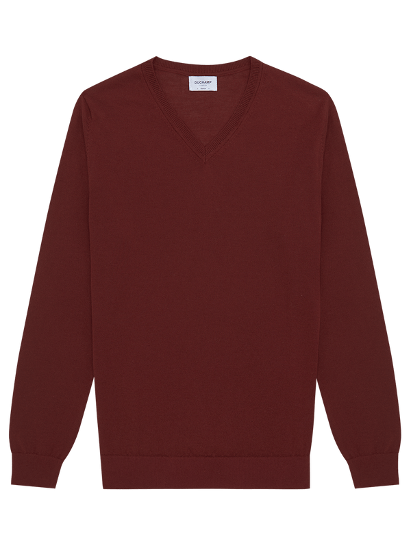 Merino Wool V Neck Jumper Burgundy
